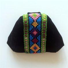 Coin Purse, Wallet, Hand Embroidered Black Velvet, Cross Stitch Gaza Palestine