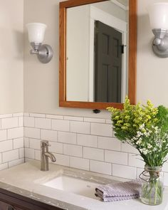 Great idea for farmhouse bathroom - concrete countertop making an antique dresser to a vanity. Subway tile in farmhouse style