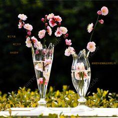 Handblown decoration flower shaped pedestal glass vases - from Alibaba.com