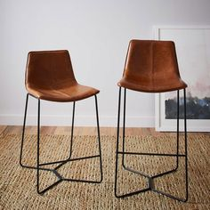 Slope Leather Bar + Counter Stools   west elm Australia