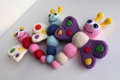 Butterfly baby rattle crochet pattern