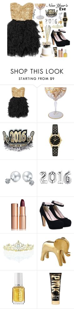"""""""New Years 2016"""" by wrigley67 ❤ liked on Polyvore featuring Rare Opulence, Kate Spade, Bling Jewelry, Charlotte Tilbury, Kate Marie, DwellStudio and Essie"""