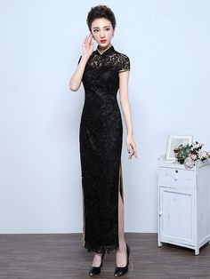 For Tonight Black Lace Qipao / Cheongsam Dress with Split