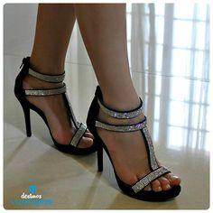 salto alto - black - heels - brilho - party shoes - Ref. 14-19558 - Alto Verão 2015