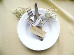 Customized burlap wedding, rustic burlap and lace silverware holder cone, rustic place card, escort card, set of 10