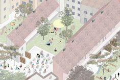 Pavla Maxová - Diploma thesis - city block in Brno - mix used houses - social, student and normal apartments, commercial spaces - inside gardens
