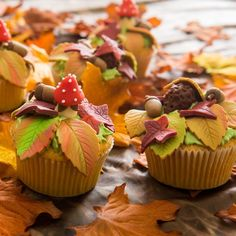 These cupcakes are the perfect Autumn treat! You can make them easily with our recipe. Decorate them with toadstools, leafs, acorns and hedgehogs. Also fun to d Fondant Cupcakes, Cupcake Cakes, School Cupcakes, Fall Cakes, Autumn Cupcakes, Cute Baking, Themed Cupcakes, Fall Treats, Love Cake
