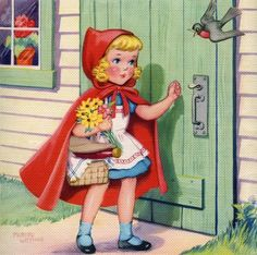 Red Riding Hood Story, Red Riding Hood Party, Red Party, Wolf, Illustrations And Posters, Little Red, Nursery Rhymes, Vintage Cards, Cute Drawings