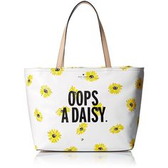 kate spade new york Down the Rabbit Hole Oops-A-Daisy Francis Tote Bag ($136) ❤ liked on Polyvore featuring bags, handbags, tote bags, tote handbags, floral handbags, handbags totes, kate spade handbag and white tote purse