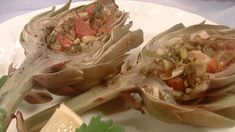 with anchovies Stuffed artichokes recipe : SBS Food Stuffed Artichokes, Food Dishes, Dishes Recipes, Recipies, Sbs Food, All Vegetables, Veggies, Artichoke Recipes, Homemade Cheese