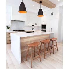 Modern Kitchen Island, Modern Kitchen Design, Interior Design Kitchen, Scandinavian Kitchen Island Lighting, Modern Kitchens With Islands, Open Galley Kitchen, White Contemporary Kitchen, White Oak Kitchen, Modern Scandinavian Interior