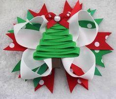 "Girls Boutique Christmas Hair Bow Sale Handmade 5"" Green Tree | eBay"