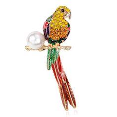 Pearl Parrot Bird Enamel Pin