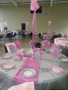 View Of The Room Princess Baby Shower Love The Grey And Pink And The Tissue  Paper Cups To Add Color