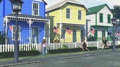 School's out and summer vacation is here! A young boy and girl race down a street of brightly painted frame houses, decorated with flags for July 4th. Original digital artwork, created in Vue by artist Jayne Wilson.