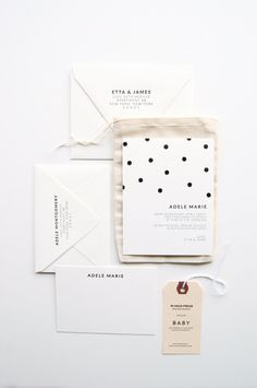 Polka-dot: Baby Announcements & Stationery Set. $350.00, via Etsy.