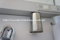 洗面台のコップは、ステンレス&下向きで。