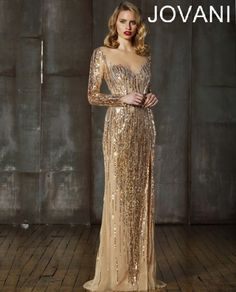 Jovani Pageant Dress 5129 | Gold Long sleeve gown with sheer neckline