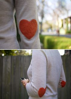fashion, valentine day, diy crafts, elbow patches, sleev, heart shapes, heart elbow, craft projects, shirt