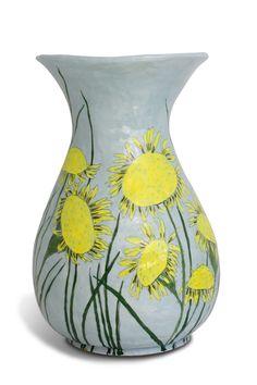 ceramic pot with flower design