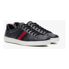 Gucci Ace Gg Supreme Sneaker (540,615 KRW) ❤ liked on Polyvore featuring men's fashion, men's shoes, men's sneakers, mens canvas sneakers, men's low top sneakers, mens snake skin shoes, mens retro sneakers and mens retro shoes