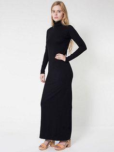 American Apparel - Cotton Spandex Jersey Long Sleeve Turtleneck Maxi Dress