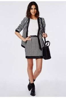 Contrast Trim Dogtooth Mini Skirt Black