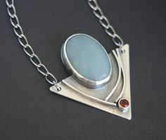 Amazonite and Fire Citrine Modern Edgy Necklace in Sterling Silver One of a Kind This modern necklace features a large oval Amazonite gemstone that