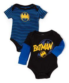 Love this Black & Blue Batman Bodysuit Set - Infant by Batman on #zulily! #zulilyfinds