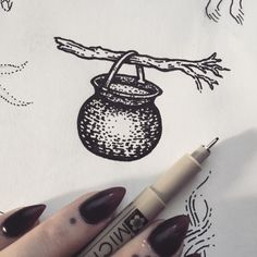 """poisonappleprintshop: """"It's that time again! I'm kicking off my annual #13sketchesofhalloween with this little wand and cauldron. I thought I should keep it somewhat simple for the first sketch. It has begun!  #poisonappleprintshop..."""