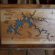 Wood Laser Cut Map of Dale Hollow Lake, TN Topographical Engraved Map