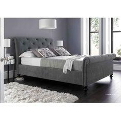 Kaydian Belford Upholstered Superking Bed in Pewter - Casafina