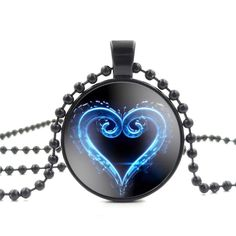 Glass Cabochon Pendant Necklace Kingdom Hearts Emblem Symbol Art Image black Bead Chain Long Necklace for Women Jewelry
