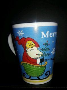 Merry Christmas MUG VINTAGE SANTA SLEIGH REINDEER Cup #Unknown
