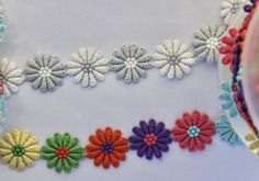 Embroidered Daisy Trim/Flower Trim in Multi-Coloured Rainbow or White/Grey Daisy Motifs Natural Linen, Ribbons, Primary Colors, Hot Pink, Daisy, Delicate, Rainbow, Colours, Mini