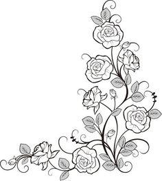 画像サンプル-バラの装飾素材・コーナー用: Doodle Drawings, Rose Coloring Pages, Wall Photos, Simple Doodles, Flower Doodles, Cute Stickers, Hand Work Embroidery, Watercolor Flowers, Vinyl Decals