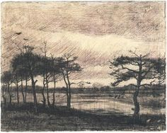 Vincent van Gogh Drawing, Pencil, pen and brush in brown ink, on wove paper Nuenen: April, 1884 Van Gogh Museum Amsterdam, The Netherlands, Europe F: 1249, JH: 473 Image Only - Van Gogh: Pine Trees in the Fen