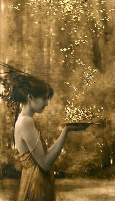 Brad Kunkle, part of An oil painting with gold leaves. Love his work