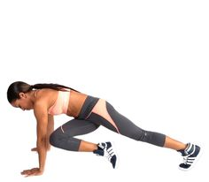 Mountain Climbers With a Twist and a Butt Kick. Begin in push-up position. Raise your right leg back behind you as high as you can while maintaining control. Then lower your leg, bend and tuck your knee, and cross it underneath you. Return your foot to starting position. Repeat this eight times on the right side and then switch to the left. Complete three sets.