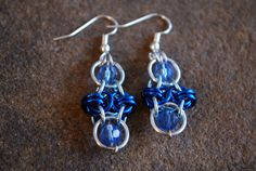 Blue and Silver Honeycomb Dangle Earrings with Sky Blue Czech Glass Beads by GeekyGaeaDesigns