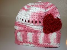 #valentines #newborn hat with heart by beckyblb on #Etsy, $8.00 #moresales