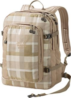 Jack Wolfskin Berkeley Check Rucksack, Sand Woven, 30 L Day Backpacks, Jack Wolfskin, Sport Chic, Mesh Fabric, Snuggles, Compact, Two By Two, Outdoor, Check