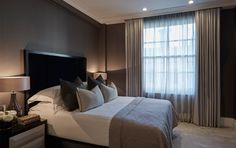 Guest bedroom at our Marble Arch project with dark grey silk wallpaper and navy velvet headboard Bedroom Apartment, Home Bedroom, Master Bedroom, Bedroom Decor, Luxury Interior, Interior Design, Velvet Headboard, H Design, Guest Bedrooms