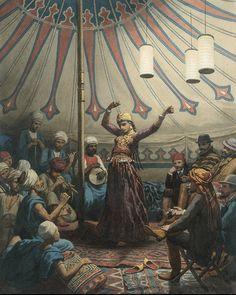 Egyptische danseres in een tent, met muzikanten en toeschouwers - Willem de Famars Testas 1863