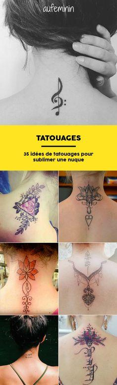 Envie d'un tattoo ? Et si vous craquiez pour un tatouage sur la nuque. Pour vous inspirez, voici 35 idées de motifs. Discret, coloré, imposant... quel est votre tatouage préféré ?
