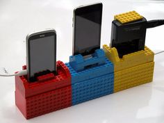 Or construct a recharging station for your all your portable electronics. | 21 Ways To Upcycle Your LEGOs