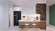 Lindo apartamento com uma paleta de cores que explora o verde, azul e cinza