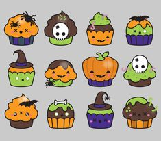 Premium Vector Clipart Kawaii Halloween by LookLookPrettyPaper