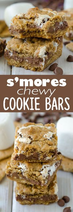 S'mores Chewy Cookie Bars: Soft and chewy graham cookie bars filled with a fluffy layer of marshmallow creme and milk chocolate chips. All the s'more without the flame! @kraftjetpuffed #JetPuffed #JetPuffedBlogger #ad