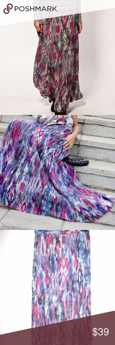 ZARA Tribal PRINT Maxi Long BOHO dress Blue Skirt SIZE L  condition: new without tags. Zara Skirts Maxi